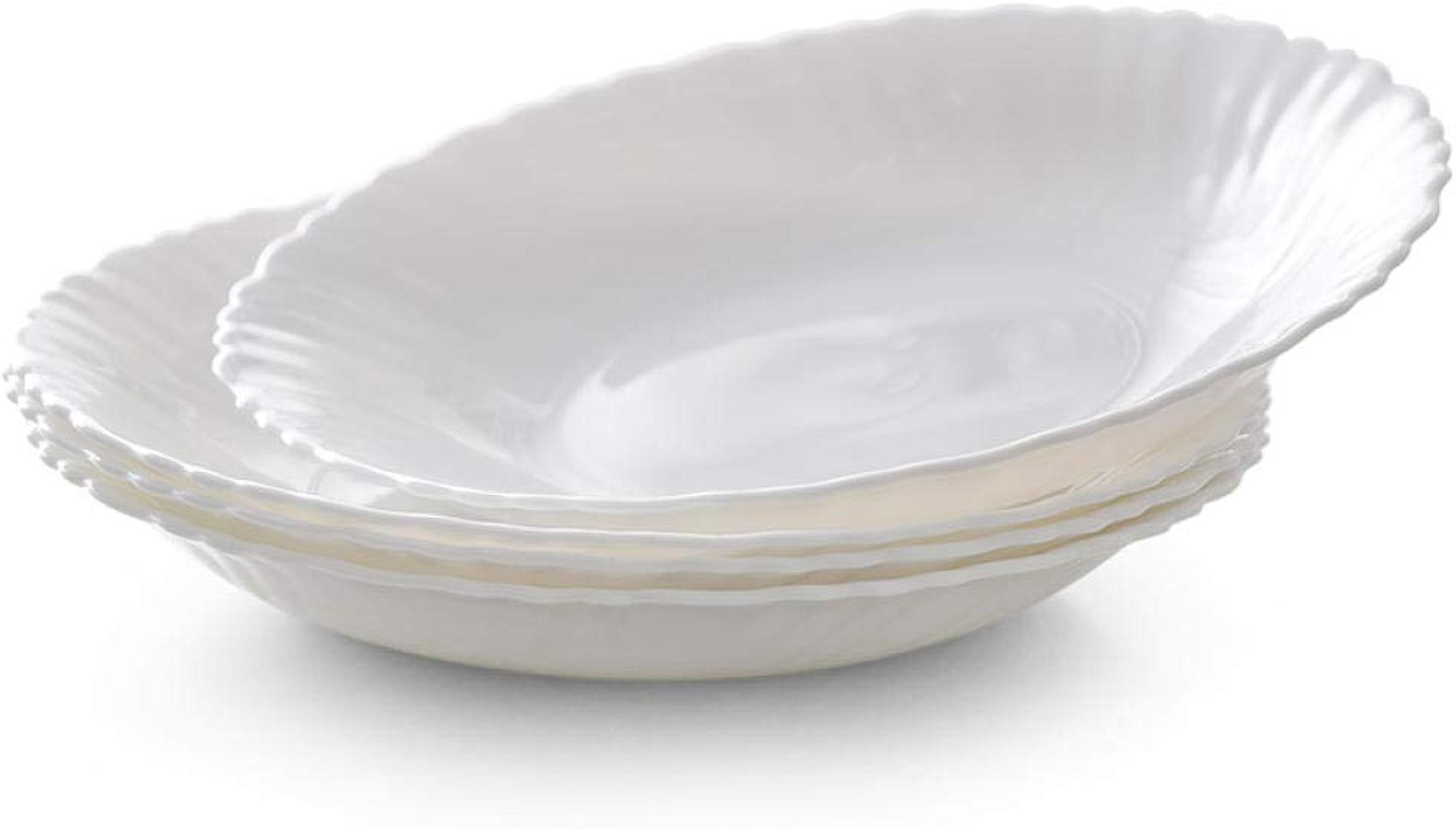 4Pcs Assiette En Porcelaine De Verre Opale Blanc Résistant à La Chaleur Assiette Profonde Couverts Couverts Steak Salade Sushi Petit Déjeuner Plaque