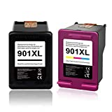 KNOWINK Cartucho de Tinta Compatible para HP 901 901XL para HP 901 XL para HP Officejet 4500 J4580 J4540 J4550 J4680 AIO (Negro/Color)