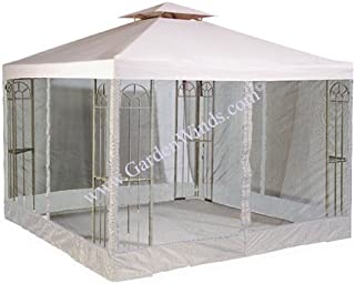 Garden Winds LCM413B-RS Universal 10x10 Two Tiere Gazebo Replacement Canopy and Netting, Beige