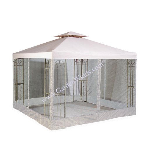 RIPLOCK Universal 10' x 10' Two-Tiered Replacement Gazebo Canopy Top Cover and Mosquito Netting Set