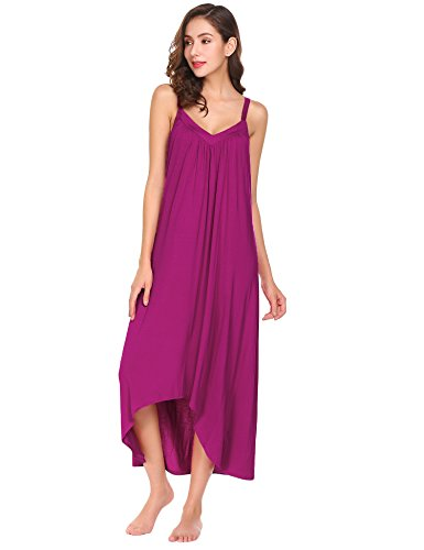 Ekouaer Womens Sleeveless Long Nightgown Summer Slip Night Dress Cotton Sleepshirt Chemise, A-rose Red/_/6696, Medium