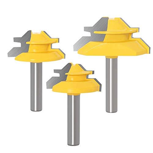 WSOOX 45 Grad Verleimfräser Gehrung Fräse Set, 3 Stück 8mm Schaft Verleimfräser Oberfräser, 45° Lock Miter Router Bit Holzbearbeitung Schneidwerkzeug für Graviermaschine Trimmmaschine