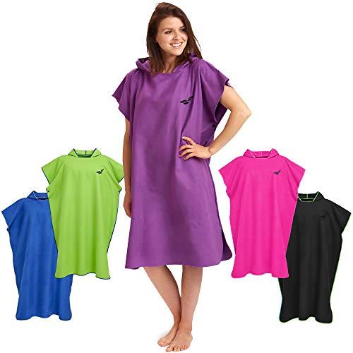 Fit-Flip Surf Poncho – Badeumhang, Umkleidehilfe extra lang, Badeponcho, Umkleide Poncho – Größe M, lila