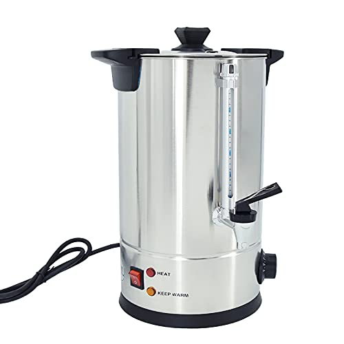TAIMIKO Hervidor dispensador, Hervidor de agua, Dispensador para té, café, agua 8 litros,1800W, Mantener el calor, temperatura regulable 30-100°C,tapa extraíble,acero inoxidable (8L)