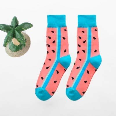 2 Paar männliche/weibliche glückliche und lustige Socken mit Druckkunst niedlichen Wintersocken mit Avocado-Sushi-Lebensmittel Baumwollmode Harajuku-Socken-a15-37-43