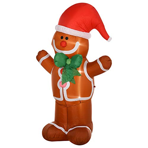 HOMCOM 6' Christmas Inflatable Gingerbread Man Holiday Yard Lawn Decoration with LED Lights, Indoor Outdoor Blow Up Decor