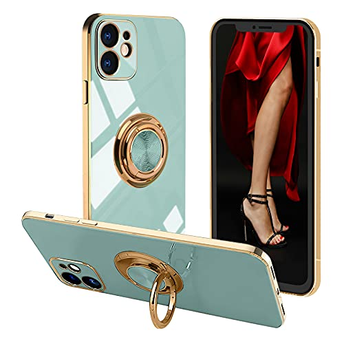 Voyazap Compatible with iPhone 11 Ring Holder Case - Pop Women Girls Case with Built-in Metal Magnetic Sheet and 360 Degree Rotation Kickstand for iPhone 11(6.1 Inch) (Green)