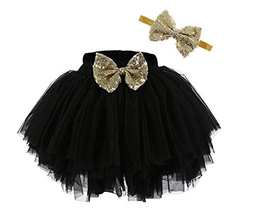 HIBA_Girls Tulle Ruffle with Bow Baby Bloomer Diaper Cover and Headband Set Black