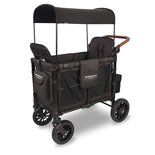 WONDERFOLD W2S 2.0 Multi-Function 2 Passenger Folding Stroller Wagon with Adjustable Canopy, Reclining Seats with Automatic Magnetic Buckles, and a Vegan Leather Covered Handle Bar (Charcoal Black)