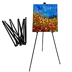 SCZS Folding 63 Tall Heavy Duty Artist Easel Display Floor Poster,Black Steel Metal Telescoping Easel Tripod Stand for Painting&Displaying (1)