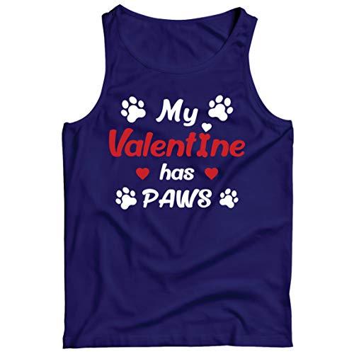 lepni.me Camisetas de Tirantes para Hombre Mi Valentín Тiene Patas Regalo para los Amantes Adictos a Las Mascotas en el Día de San Valentín (M Azul Multicolor)