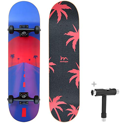 M Merkapa 31' Pro Complete Skateboard 7 Layer Canadian Maple Double Kick...