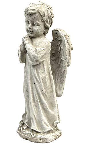 Solid Rock Stoneworks Innocence Angel Stone Statue 13in Tall Decorative Sculpture Marble Tone Color