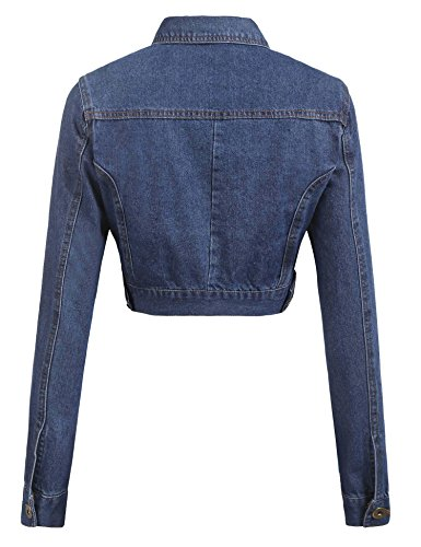 Grabsa Women's Button Down Long Sleeve Cropped Denim Jean Jacket with Pockets Clear Blue Medium