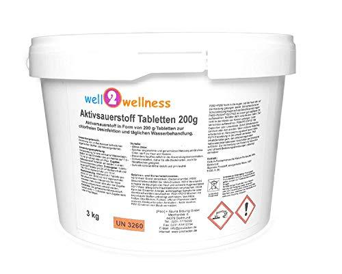 well2wellness Aktivsauerstoff Tabletten 200g / Sauerstofftabletten/O²-Tabletten 200g chlorfrei - 3,0 kg