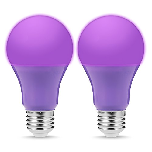 JandCase A19 Purple Light Bulbs, Party Lights, 5W(40W Incandescent Equivalent), Color Light Bulb with E26 Medium Base, Living Room, Porch, Home Lighting, 2 Pack