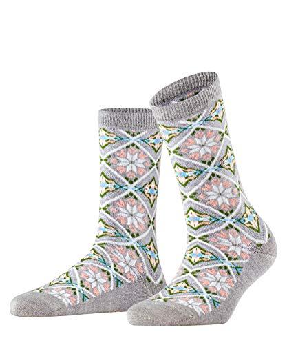 Burlington Damen Snowstar Argyle Socken, grau (Light Grey 3770), Einheitsgröße (DE 36-41)