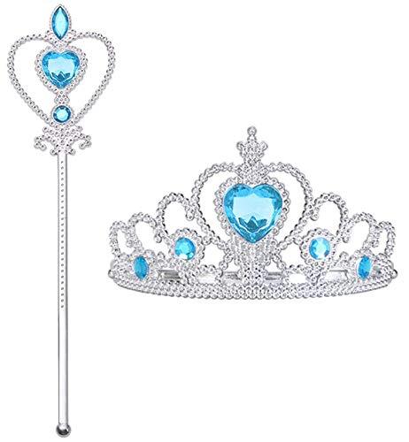 ELSA Krone Prinzessin Mädchen Diadem Zauberstab Kinder Zubehör Set für ELSA Kleid Kostüm Mädchen Theateraufführung Geburtstagsgeschenk (EIS Blau)