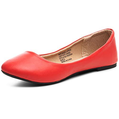 Alpine Swiss Womens Red Leather Pierina Ballet Flats 9 M US