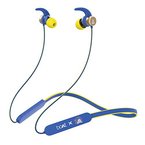 Boat Rockerz 255 Chennai Super Kings Edition Wireless Headset with Super Extra Bass, IPX5 Water and Sweat Resistant, Qualcomm Chipset and Upto 6H Playback(CSK Blue)