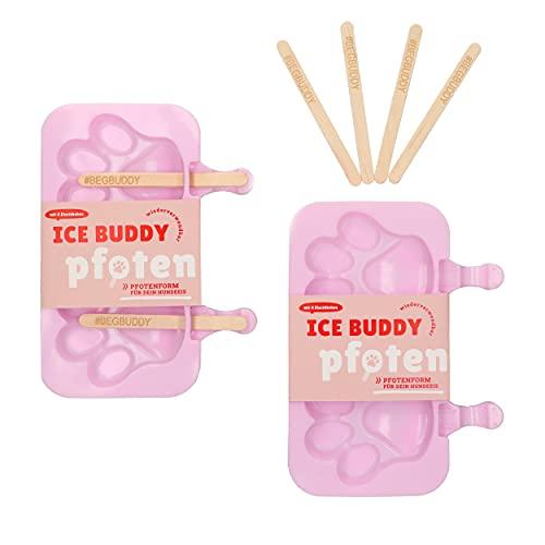 BeG Buddy Hunde Eisformen, 2er Pfoteneis für Hunde, Eis für Hunde zum Selbermachen, Silikonform zum Wiederverwenden im Sommer, mit passenden Stielen, Stieleis