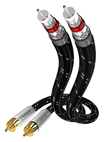 Inakustik 006041015Cable de Audio 2RCA estéreo 1,5m para Source Audio/DAC/Tuner/Unidad CD/Amplificador/preamplificador Negro/Plata