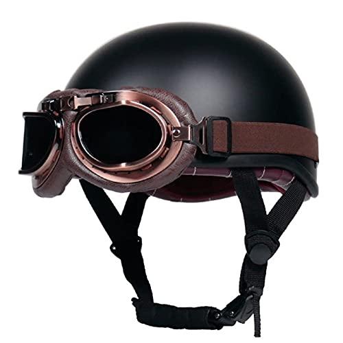 YALIXING Casco de motocicleta para hombre y mujer, certificado DOT/ECE para motocicleta y media cara, seguro para proteger casco piloto Chopper Cruiser Biker con gafas (color : D, tamaño: XL 57-58 cm)