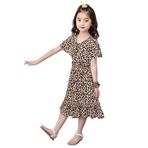 Janly Liquidación Venta Vestidos de Niña para niños de 2 a 7 años, Bebé Niña Floral Leopardo Vestido de Playa Princesa Trajes Ropa para Niños Pequeños, amarillo, 6-7 años