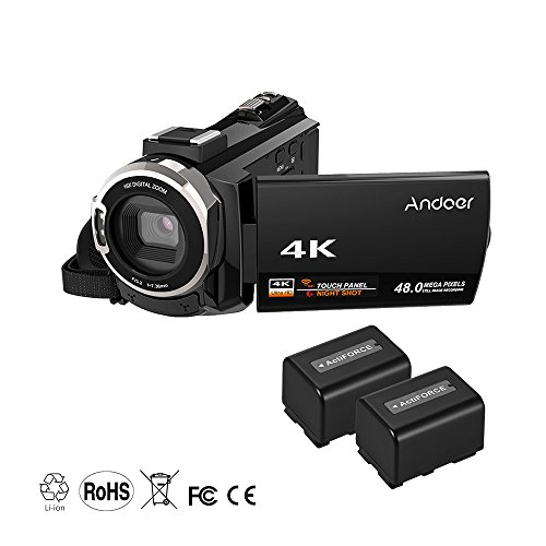 Andoer 4K 1080P 48MP WiFi Digital Video Camera Camcorder Recorder with 2pcs Rechargeable Batteries Novatek 96660 Chip 3inch Touchscreen Night Sight 16X Zoom Cold Shoe Support External Microphone