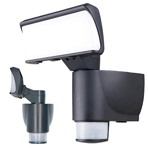 proventa® LED-Strahler mit automatischer Bewegungsverfolgung, 180° Schwenkbereich, 270° Bewegungsmelder, Lichtfarbe 4.000 K, 18 Watt,1.200 Lumen, IP44, Gehäusefarbe anthrazit