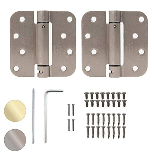 """Houseables Self Closing Door Hinges, Mortise Spring Hinge, 5/8' Radius Corner, Satin Nickel Finish, 4"""" x 4"""", 2 Pack, 2.7 MM, Automatic Closer, Adjustable, Tension Loaded, Auto Close Pin, Heavy Duty"""