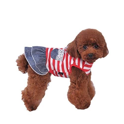 3°Amy Sommer-Haustier-Hund-Nette Kleidung Kostüm-Streifen-Kleid Tutu Denim-Kleid XS- XL Hund Brautkleid (Color : Red, Size : M)