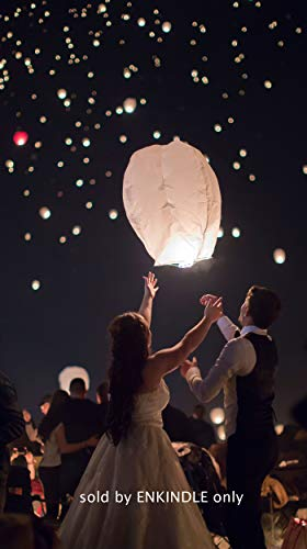 Chinese Paper Flying Sky Lanterns - for Wedding, Christmas, Memorial, Party Wish - Large White Eco Friendly Biodegradable 10 Pack Lantern Set with Small Japanese Wax Paper to Light (Heart)