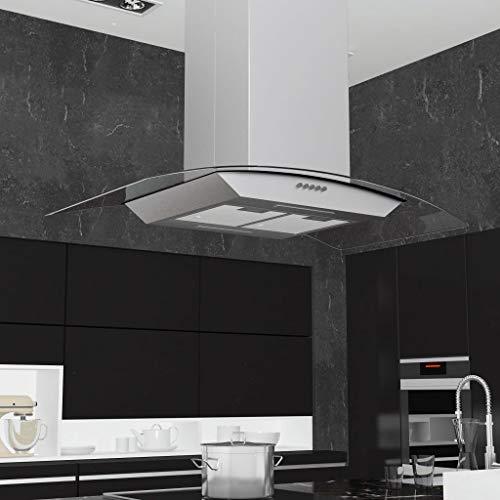 Tidyard Inselhaube Edelstahl 90 cm 756 m3 / h LED Umluft-Dunstabzugshaube für Arbeitsplatte, Kochinsel