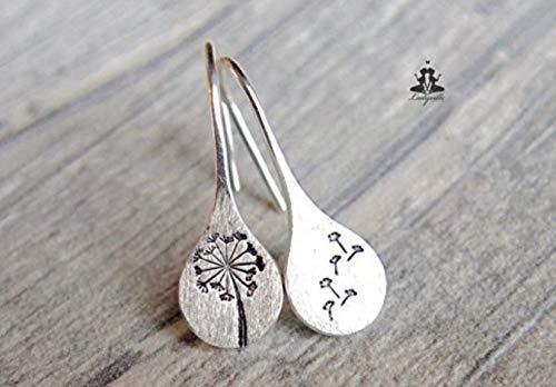 Sterling Silber Ohrringe - per Hand Gestempelte Pusteblume/Löwenzahn