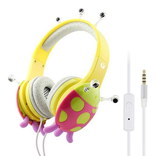 VCOM Kinder Kopfhörer, Verstellbare Over Ear Stereo Mädchen Jungen Kopfhörer kindgerechten Marienkäfer Headsets mit Lautstärke Begrenzender Kompatibel für iPhone iPad PC Laptop Kindle Tablet (gelb)