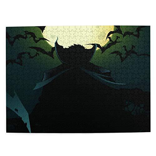 DAHALLAR Mittlere Größe Jigsaw-Puzzles 500 Stücke,Dracula auf Blue Moon Vampire, Lustig Familienspiel Hängende Heimdekoration,20.4' x 15'