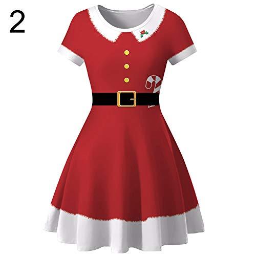 litty089 Herfst Winter voor Vrouwen Ornament, Kerstman Herten Patroon Print O Nek Korte Mouwen, Slim Midi Jurk, Decor voor Kerst Party Kostuum