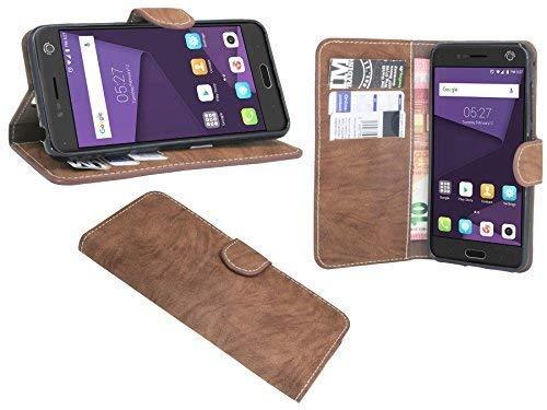 ENERGMiX Buchtasche kompatibel mit ZTE Blade V8 Hülle Hülle Tasche Wallet BookStyle mit Standfunktion in Braun