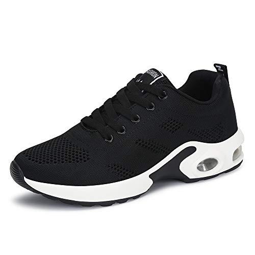 Zapatillas Deportivas de Mujer Air Cordones Zapatillas de Running Fitness Sneakers 4cm Negro Rojo Rosado Púrpura Negro 35