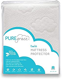 PUREgrace Eucalyptus Twin Mattress Protector Natural Safe Tencel - Waterproof - Breathable Quiet Hypoallergenic pad (39