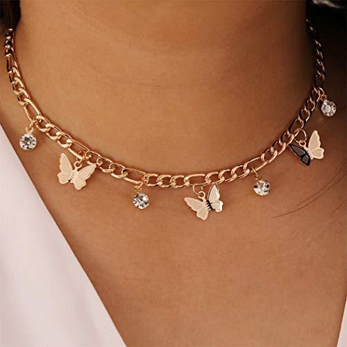 Handcess Boho Crystal Collares Gargantilla de mariposa dorada Punk Borla Collar Cadena para mujeres y niñas