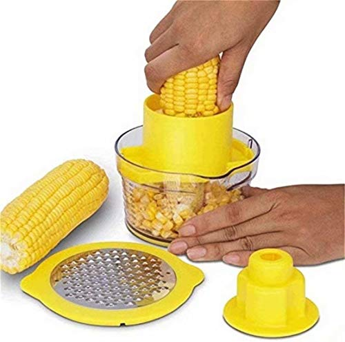 SUNMUCH Corn Stripper, Corn Peeler Household Corn Thresher Stainless Steel Peeling Machine 4 in 1 Corn Shucker Tool, Corn Kernel Remover Ginger Grater