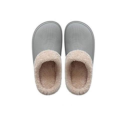 YLL Zapatillas Impermeables de Las Mujeres Inferior Grueso Zapatillas Peludo Zapatillas Calientes de Interior casero algodón Zapatillas de Goma PU Zapatillas (Color : D, Size : 35-36EU)