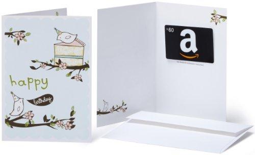 Amazon.com $60 Gift Card in a Greeting Card (Birthday Birds Design)