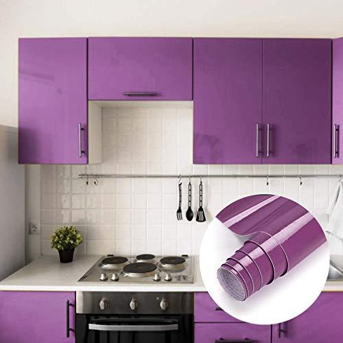 iKINLO Tapeten Selbstklebende Folie Vinyl Möbelfolie Klebefolie für Möbel Küche Oberflächenschutz Wasserfest Dekorfolie Küchenschrank Aufkleber, 0.61 * 5M Lila mit Glitzer