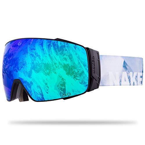 NAKED Optics® Skibrille Snowboard Brille für Damen und Herren - Verspiegelt mit Magnet-Wechselsystem – Ski Goggles for Men and Women (Snow, inkl. Schlechtwetterglas)