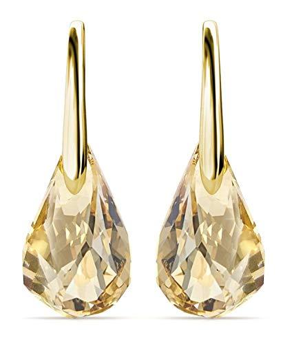 Yolora dames oorbellen met Swarovski kristal hanger - Echt zilveren oorhangers met Gouden plating, 925 sterling zilver- Goudkleurige druppel - YO-171
