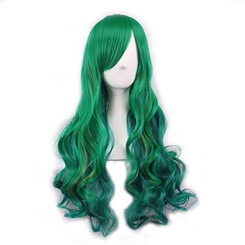 Gradiente de color verde de seda de alta temperatura pelo rizado Harajuku peluca oscuro de anime peluca gradiente peluca Daily pelucas (Color : Milky)