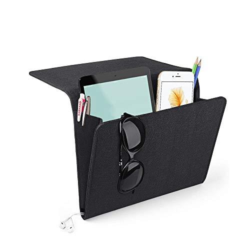Yifen Filzbett Caddy mit Zwei Taschen innen und seitlich Ladekabel Loch für Telefon, iPad, Buch, Stift, Glas, Fernbedienung, Spielzeug 24x27x8cm(Schwarz)